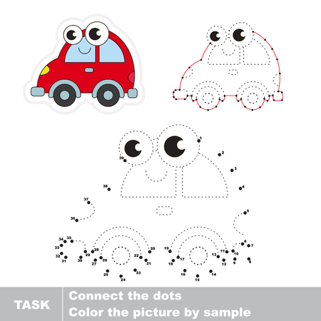 joining the dots: Red car in vector to be traced by numbers. Easy educational kid game. Simple game level. Education and gaming for kids. Vector visual game for children.
