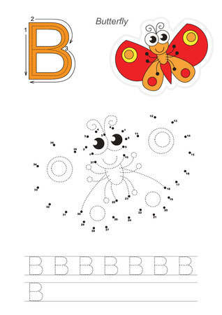 joining the dots: Vector exercise illustrated alphabet. Gaming and education. Learn handwriting. Connect dots by numbers. Easy educational kid game. Simple level of difficulty. Tracing worksheet for letter B. Butterfly.