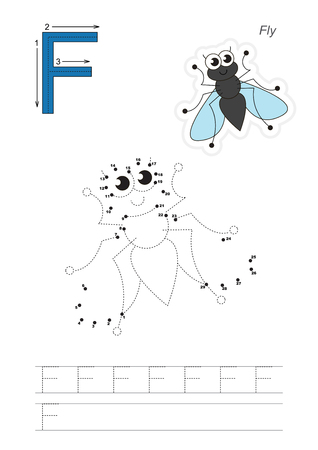 difficulty: Vector exercise illustrated alphabet. Gaming and education. Learn handwriting. Connect dots by numbers. Easy educational kid game. Simple level of difficulty. Tracing worksheet for letter F. Fly.
