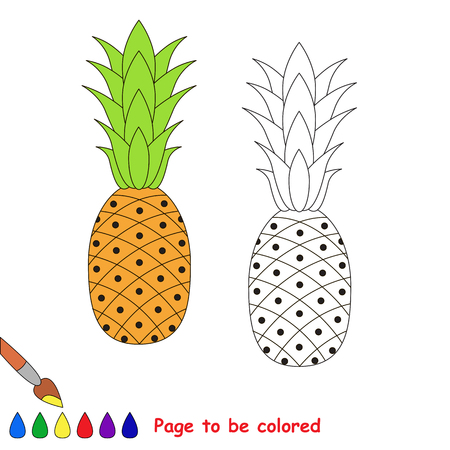 difficulty: Pineapple to be colored. Coloring book for children. Visual educational game. Easy kid gaming. Simple level of difficulty. Illustration