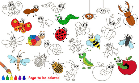 primary education: Set of funny insects to be colored. Coloring book to educate kids. Learn colors. Visual educational game. Easy kid gaming and primary education. Simple level of difficulty. Coloring pages. Illustration