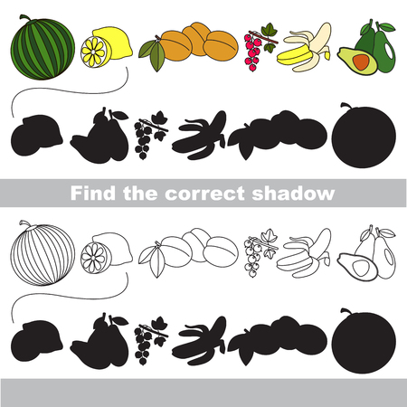 one level: Set of ripe fruits with shadows to find the correct one. Compare and connect objects and their true shadows. Easy educational kid gaming. Simple level of difficulty. Logic game for children.