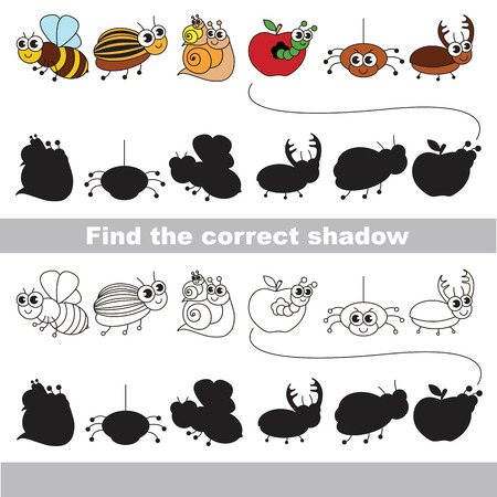 one level: Set of funny small insects with shadows to find the correct one. Compare and connect objects and their true shadows. Easy educational kid gaming. Simple level of difficulty. Logic game for children. Illustration