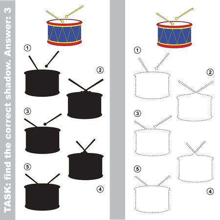one level: The toy drum with different shadows to find the correct one. Compare and connect object with it true shadow. Easy educational kid gaming. Simple level of difficulty. Visual game for children. Illustration