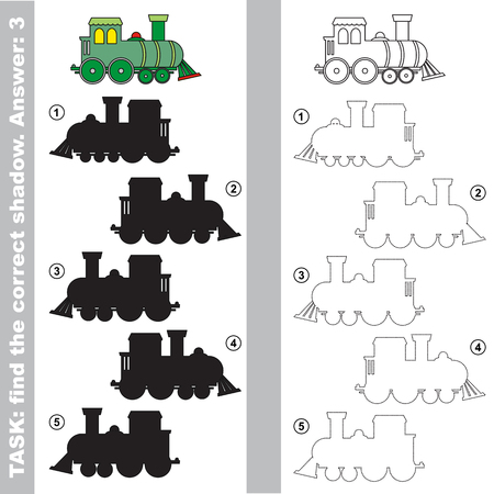 one level: The toy locomotive with different shadows to find the correct one. Compare and connect object with it true shadow. Easy educational kid gaming. Simple level of difficulty. Visual game for children. Illustration