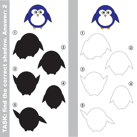 one level: Cute Penguin with different shadows to find the correct one. Compare and connect object with it true shadow. Easy educational kid gaming. Simple level of difficulty. Visual game for children. Illustration