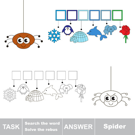 find: Vector rebus game for children. Easy educational kid game. Simple game level. Find solution and write the hidden word Spider Illustration