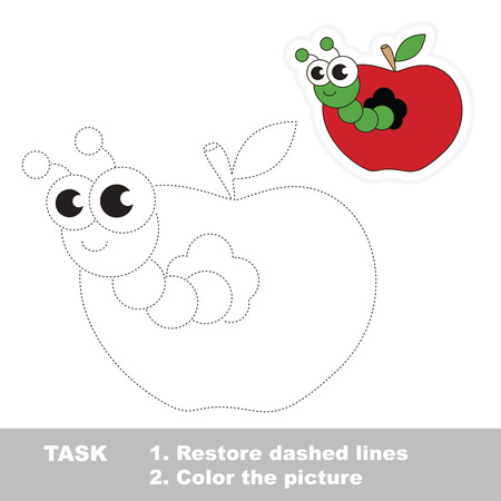 Worm and apple. Gaming in vector to be traced. Easy educational kid game. Simple level of difficulty. Restore dashed line and color the picture. Trace game for children. Illustration