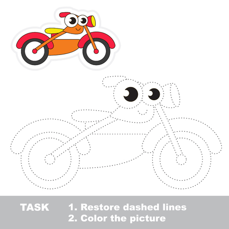 restore: Bike in vector to be traced. Easy educational kid game. Simple level of difficulty. Restore dashed line and color the picture. Trace game for children.