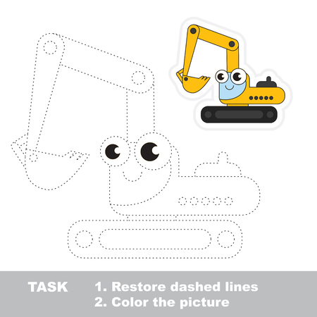 difficulty: Funny excavator in vector to be traced. Easy educational kid game. Simple level of difficulty. Restore dashed line and color the picture. Trace game for children. Illustration