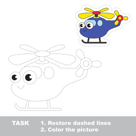 difficulty: Funny helicopter in vector to be traced. Easy educational kid game. Simple level of difficulty. Restore dashed line and color the picture. Trace game for children.