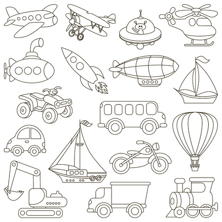 book pages: Toy Transport Set to be colored. Coloring book to educate kids. Learn colors. Visual educational game. Easy kid gaming and primary education. Simple level of difficulty. Coloring pages.