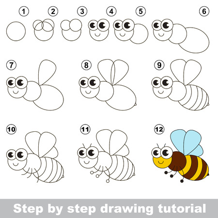 Drawing tutorial for children. Easy educational kid game. Simple level of difficulty. How to draw the honeybee. Vetores