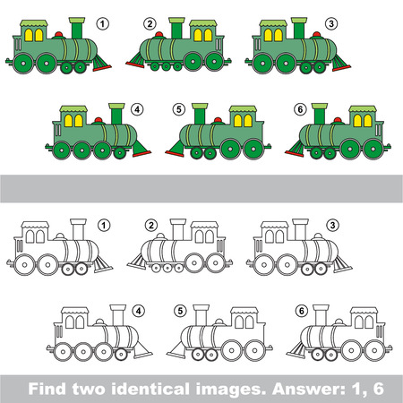similar: The design difference. Vector visual game for kid education. Simple level of difficulty. Easy educational game. Task and answer. Find two similar Locomotives.