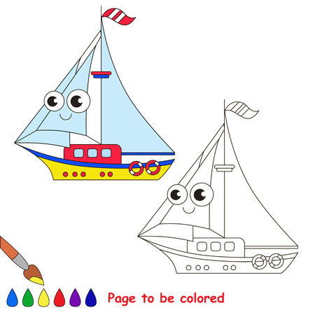 black baby boy: Yellow yacht to be colored. Coloring book to educate kids. Learn colors. Visual educational game. Easy kid gaming and primary education. Simple level of difficulty. Coloring pages. Illustration