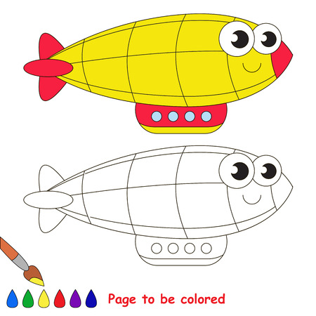 black baby boy: Yellow zeppelin to be colored. Coloring book to educate kids. Learn colors. Visual educational game. Easy kid gaming and primary education. Simple level of difficulty. Coloring pages. Illustration