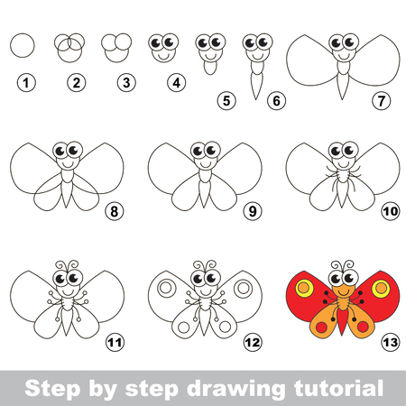 Drawing tutorial for children. Easy educational kid game. Simple level of difficulty. How to draw the Butterfly Illustration