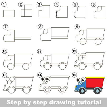 preschool child: Drawing tutorial for children. Easy educational kid game. Simple level of difficulty. Kid education and gaming. Indoor games for children. How to draw the lorry.