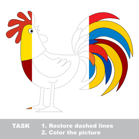 Half tracing game to be colored, vector trace game for kids.