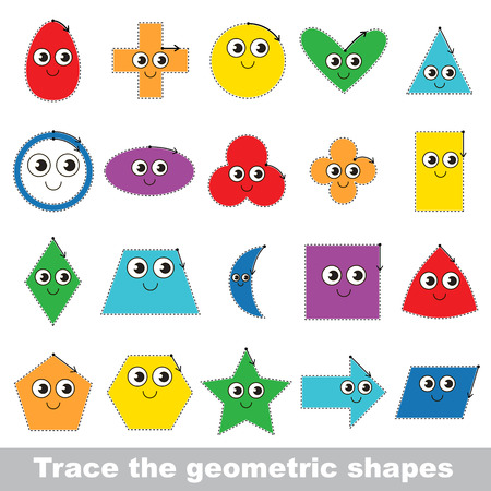 Tracing tutorial for kids to learn geometric shapes. Illustration