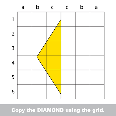 diamond letters: Educational kid game to finish the image using grid sells.