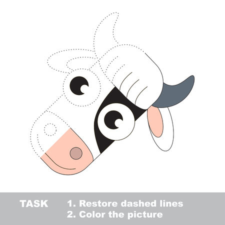 udders: Vector trace educational game for preschool kids. Illustration