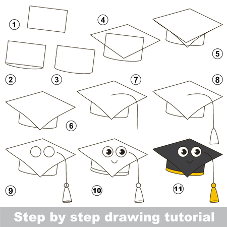 school: Simple kid educational game. Drawing tutorial. Illustration
