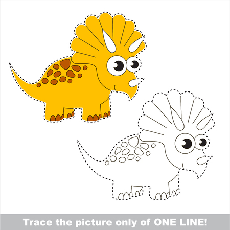 Triceratops to be traced only of one line, the tracing educational game to preschool kids with easy game level, the colorful and colorless version. Illustration