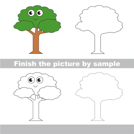 Kid drawing worksheet to complete picture by sample.