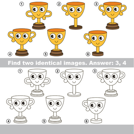 Find design difference, the task is to find similar objects, the educational kid matching game for preschool kids with easy gaming level to compare items and find two same Winner Cups. Illustration