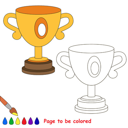 Trophy Cup to be colored, the coloring book to educate preschool kids with easy kid educational gaming and primary education of simple game level. Stock Photo