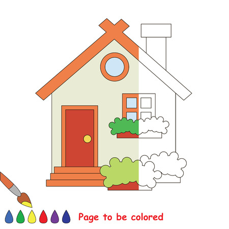 Cute home to be colored, the coloring book to educate preschool kids with easy kid educational gaming and primary education of simple game level, color the colorless halp by sample half.
