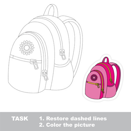 joining the dots: Restore dashed line and color the picture, the educational vector game for kids with easy game level, simple kid tracing educational worksheet with Pink Backpack.