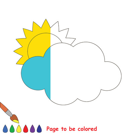 Sun and Cloud to be colored, the coloring book to educate preschool kids with easy kid educational gaming and primary education of simple game level, color the colorless halp by sample half.