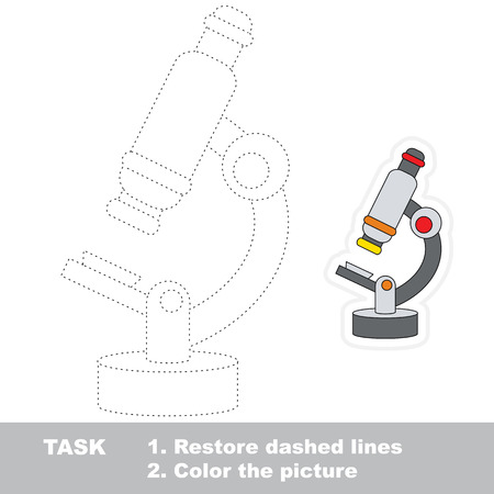 Restore dashed line and color the picture, the educational vector game for kids with easy game level, simple kid tracing educational worksheet with Microscope Stock Photo
