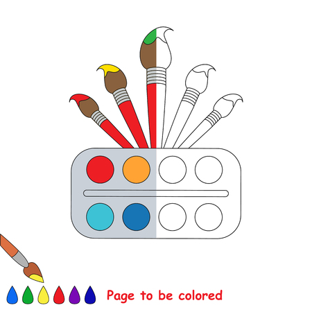 Watercolor and Brushes to be colored, the coloring book to educate preschool kids with easy kid educational level to color the colorless half by sample.. Stock Photo