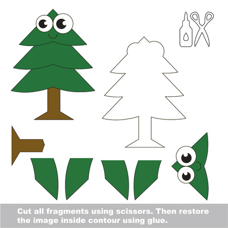 Use scissors and glue and restore the picture inside the contour. Easy educational paper game for kids. Simple kid application with Funny New Year Tre.