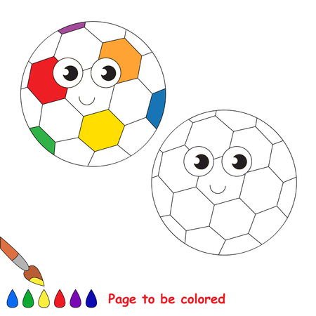 primeval: Rainbow football ball to be colored, the coloring book to educate preschool kids with easy kid educational gaming and primary education of simple game level.