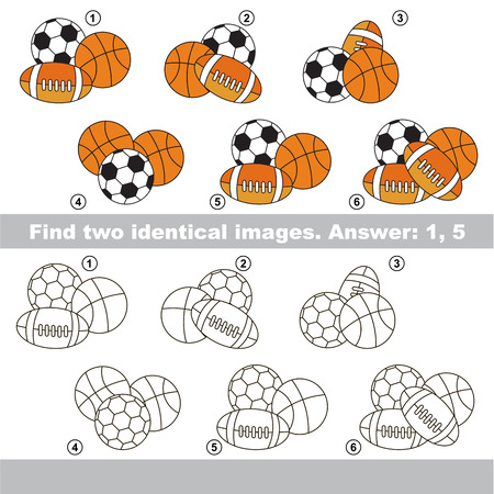 Educational kid matching game to find design difference, the task is to find similar objects, the educational game for kids with easy game level to compare items and find two same Ball sets. Illustration
