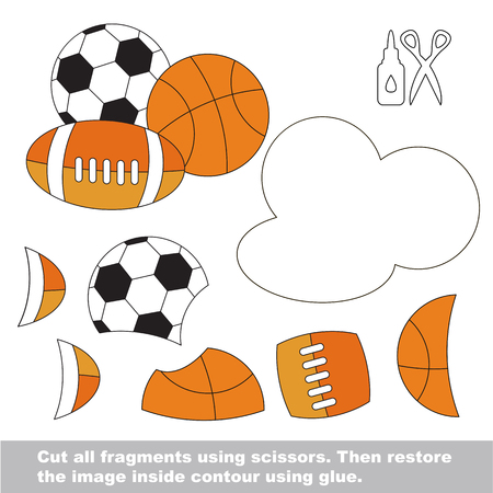 Use scissors and glue and restore the picture inside the contour. Easy educational paper game for kids. Simple kid application with Balls.
