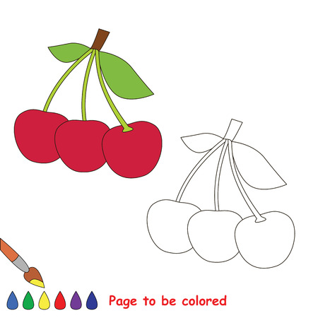 Educational worksheet to be colored by sample. Easy educational paint game for preschool kids. Simple kid coloring page with Cherry