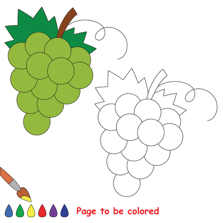 Educational worksheet to be colored by sample. Easy educational paint game for preschool kids. Simple kid coloring page with rapes.