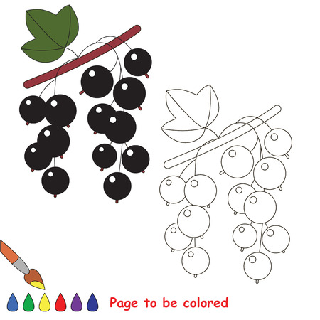 Educational worksheet to be colored by sample. Easy educational paint game for preschool kids. Simple kid coloring page with Currant. Illustration