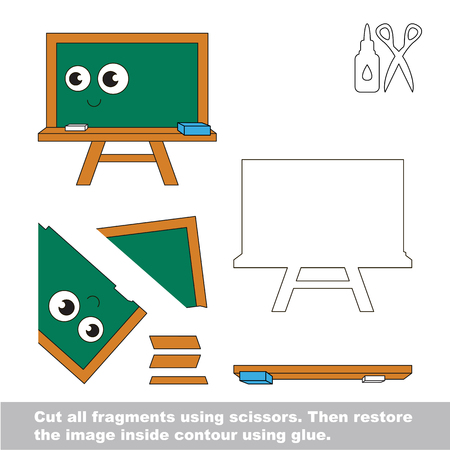 Use scissors and glue and restore the picture inside the contour. Easy educational paper game for kids. Simple kid application with Green Board