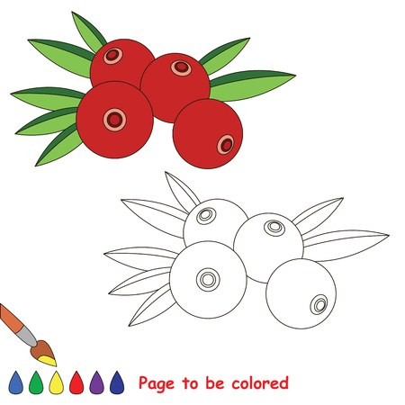 Educational worksheet to be colored by sample. Easy educational paint game for preschool kids. Simple kid coloring page with Cranberry.