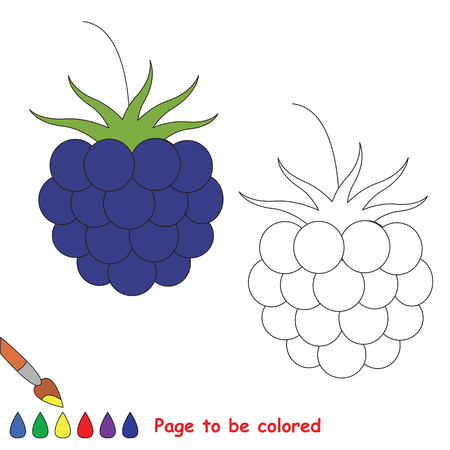 Educational worksheet to be colored by sample. Easy educational paint game for preschool kids. Simple kid coloring page with Blueberry.