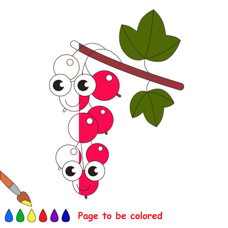 Red Currant to be colored, the coloring book to educate preschool kids with easy kid educational gaming and primary education of simple game level. Illustration