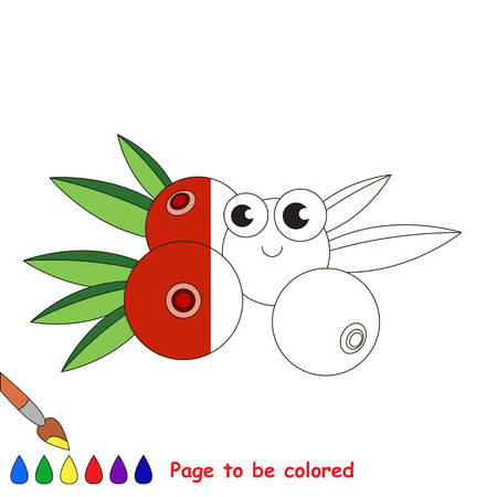 Cranberry to be colored, the coloring book to educate preschool kids with easy kid educational gaming and primary education of simple game level.