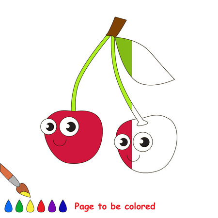 Red cherry to be colored, the coloring book to educate preschool kids with easy kid educational gaming and primary education of simple game level.