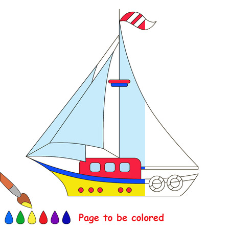 Yacht to be colored, the coloring book to educate preschool kids with easy kid educational gaming and primary education of simple game level. The colorless half of picture to be colored by sample half. Illustration